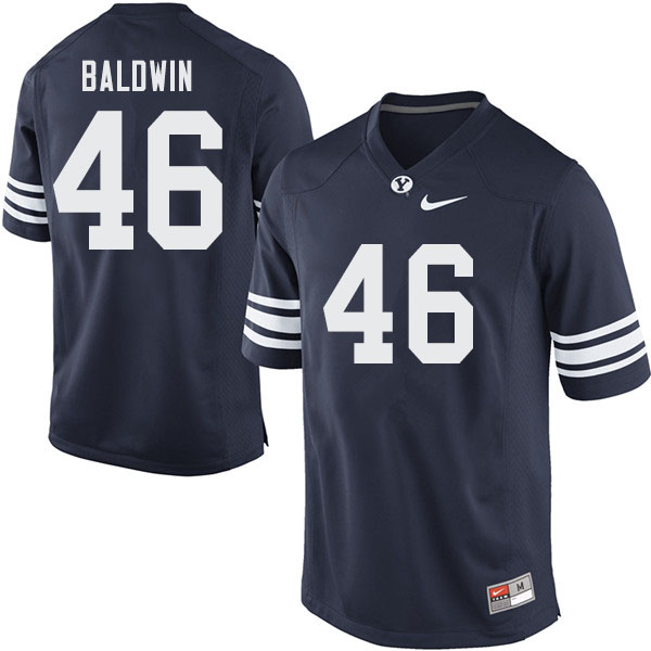 Men #46 Sam Baldwin BYU Cougars College Football Jerseys Sale-Navy